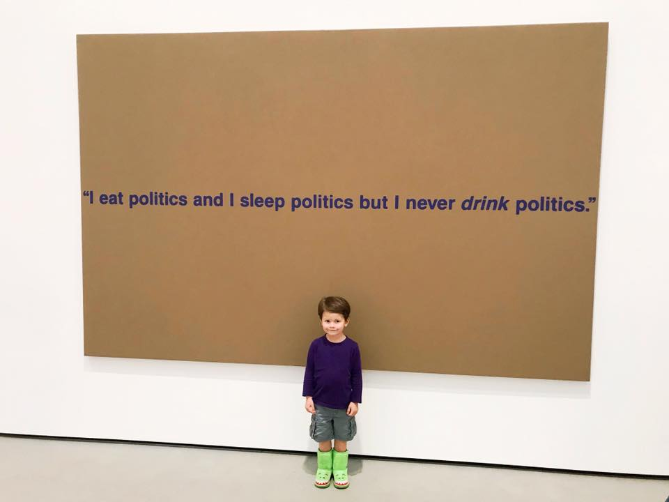 My darling toddler son standing in front of a painting at The Broad